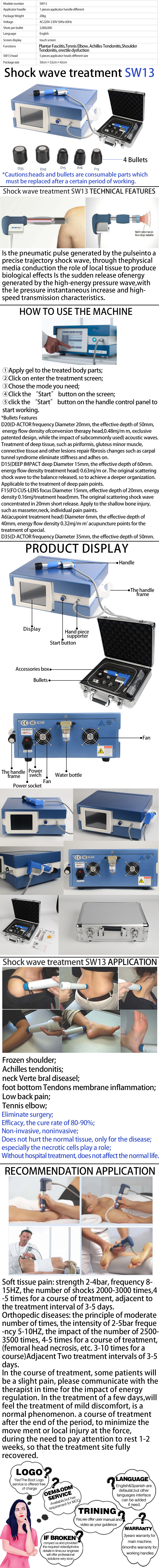 SW13 Portable Shockwave Therapy Machine For ED product details