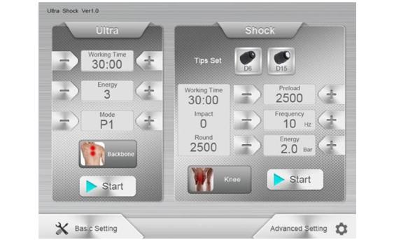 Ultrashock Ultrasonic Shockwave Therapy Machine panel